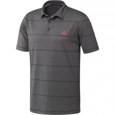 Adidas Ultimate365 Heathered Stripe Polo - Black/Coral/Black